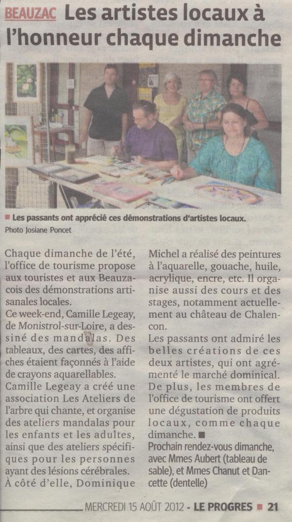 Article LeProgrès 15 08 2012