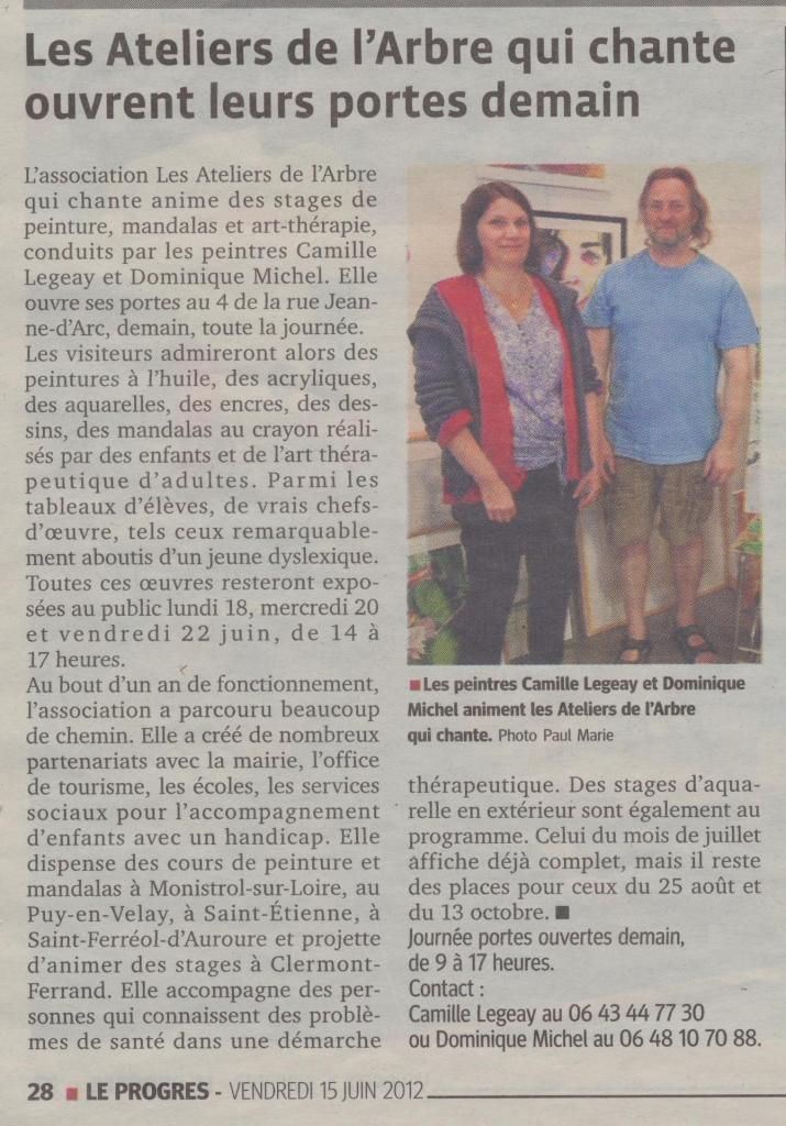 Article LeProgres du 15 06 2012